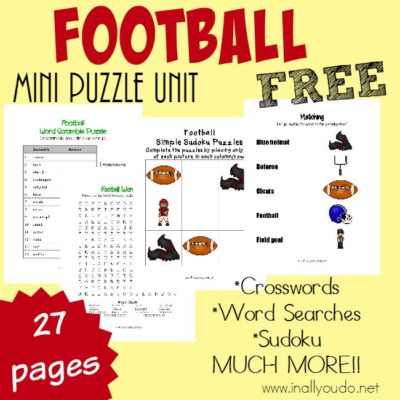 Football season is HERE! These Football themed printables are PERFECT to add in some extra learning!! Includes a Mini Puzzle Unit & Tot-PreK-K Pack!! :: www.inallyoudo.net