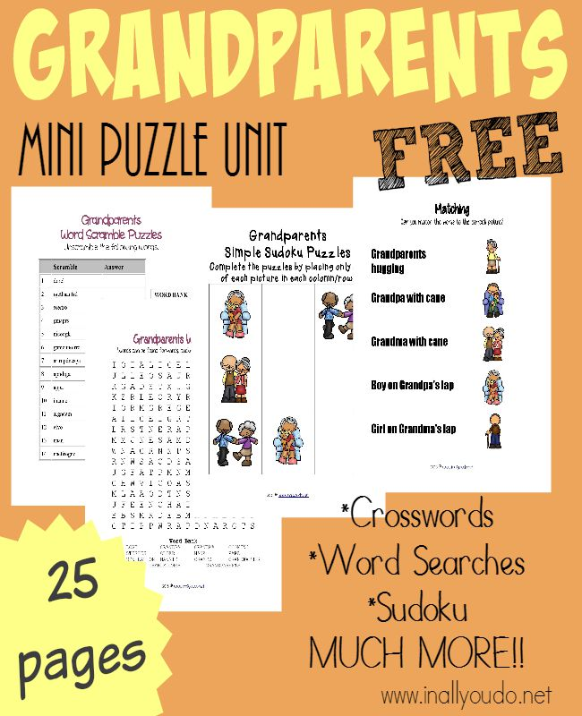 Grandparents are special people. Have some fun celebrating them or learning more about them with these Grandparents Puzzles & Activities! {25 total pages} :: www.inallyoudo.net