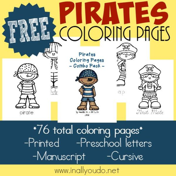 Argh, Matey! Talk Like a Pirate Day is September 19th! Celebrate with these FUN Coloring Pages for ALL ages!! {free printables} :: www.inallyoudo.net