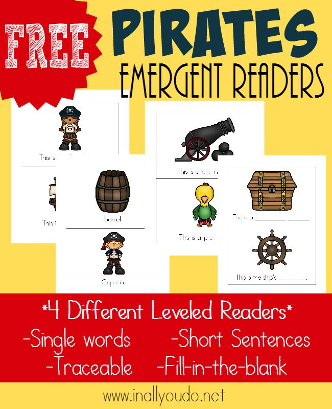 Your littlest pirate fans will LOVE these Emergent Readers!! 4 different levels to help improve reading skills in Black & White or Color! :: www.inallyoudo.net