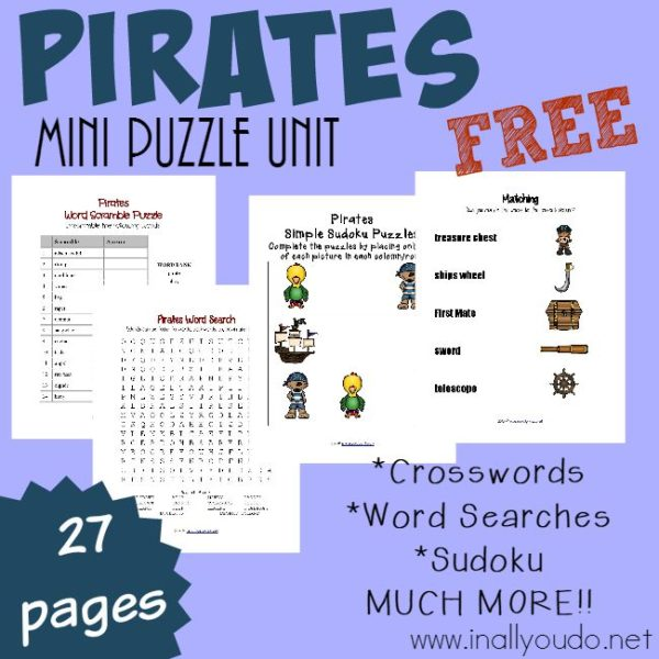 These FREE Pirate Puzzles & Activities are PERFECT for Talk Like a Pirate Day (9/19) or any day! Ages Tots - 5th grade!! {55+ pages total} :: www.inallyoudo.net
