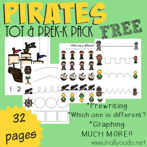 Even the youngest Pirate fans can join in the fun with this Pirate Tot & PreK-K Pack!! 32 pages of prewriting, puzzles, activities & FUN!! :: www.inallyoudo.net
