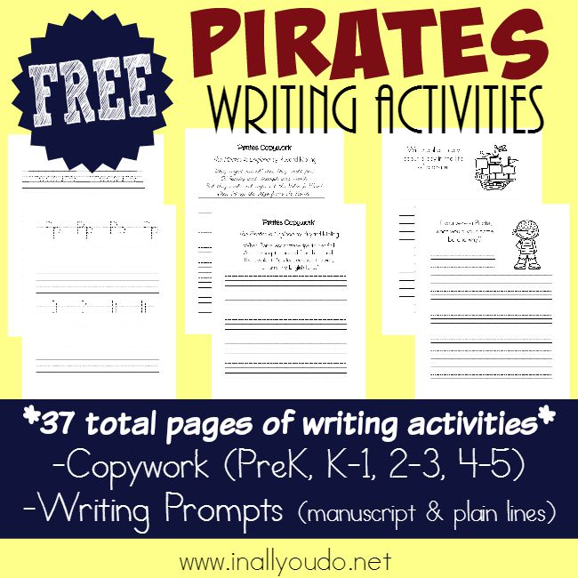 "Kids will LOVE using their creativity to write about Pirates! These FREE Pirate Writing Activities are perfect for ""Talk Like a Pirate Day"" (9/19) :: www.inallyoudo.net"