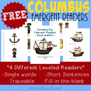 These simple Christopher Columbus Emergent Readers are PERFECT for new readers! FREE for subscribers - grab them NOW! {4 levels} :: www.inallyoudo.net