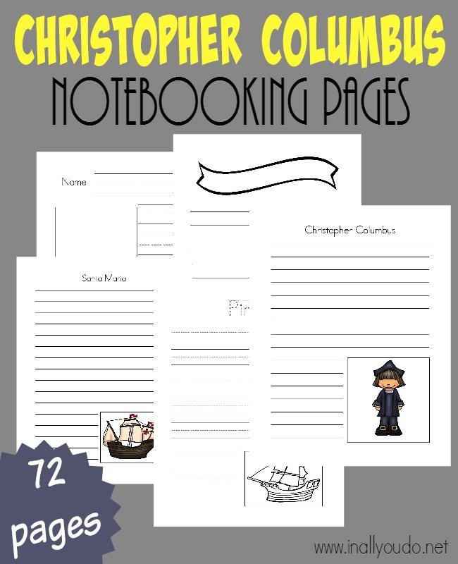 Christopher Columbus may be one of the most famous explorers in history. Record all you know and learn about him with these Notebooking Pages!! Over 70 templates to choose from! :: www.inallyoudo.net