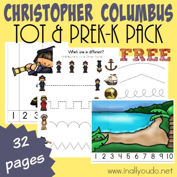 Little ones can learn all about Christopher Columbus with this SUPER CUTE Tot & PreK-K Pack!! 32 pages of activities, puzzles, prewriting & MORE!! :: www.inallyoudo.net