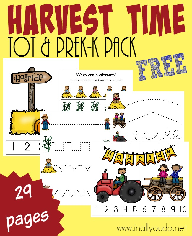 Harvest time is here and this SUPER ADORABLE Tot & PreK-K Pack is PERFECT for the little learners in your family. {29 total pages} :: www.inallyoudo.net