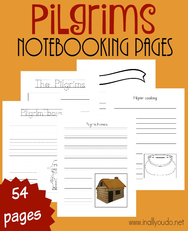 Use these Pilgrims themed Notebooking pages in addition to your regular unit, story time, to research pilgrims and more! Blank pages and themed pages included. {54 pages} :: www.inallyoudo.net