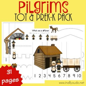 Pilgrims are a great study during the month of November going in to Thanksgiving. Little ones will LOVE this fun Tot & PreK-K Pack full of activities & puzzles! {31 pages} :: www.inallyoudo.net