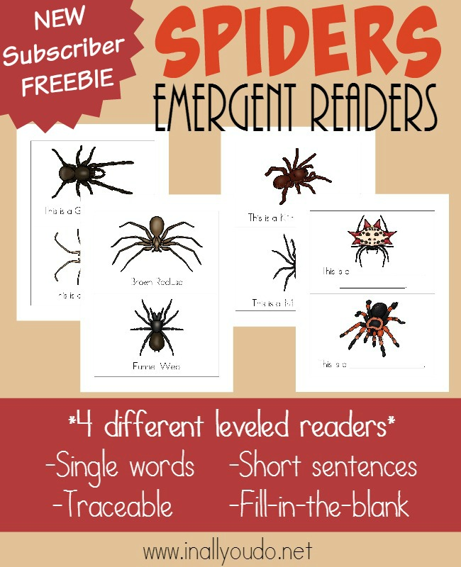 Young readers will enjoy these creepy, crawly Spiders Emergent Readers!! Includes 4 different levels. :: www.inallyoudo.net