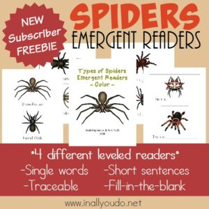 Types of Spiders Emergent Readers