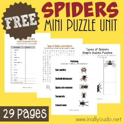 FREE Types of Spiders Puzzles & Activities Pack