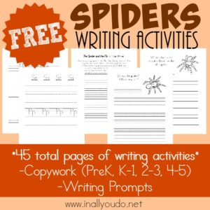 Types of Spiders Writing Activities