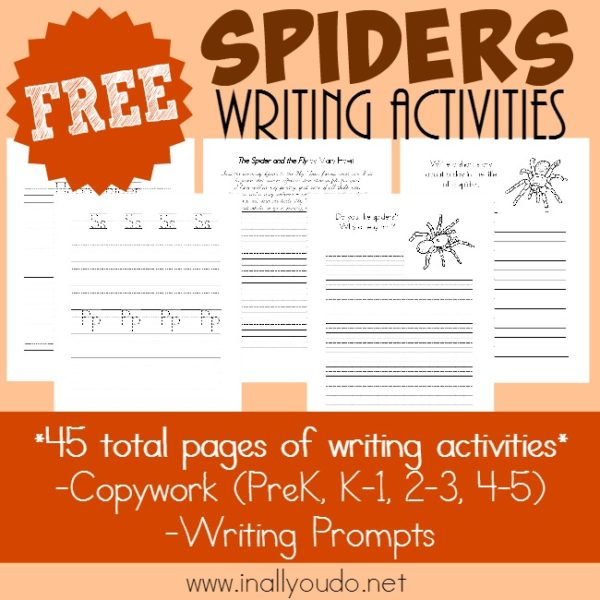 Record all you've learned about Spiders with these FREE Copywork, Writing Prompts and Notebooking Pages. Over 130 total pages!! :: www.inallyoudo.net