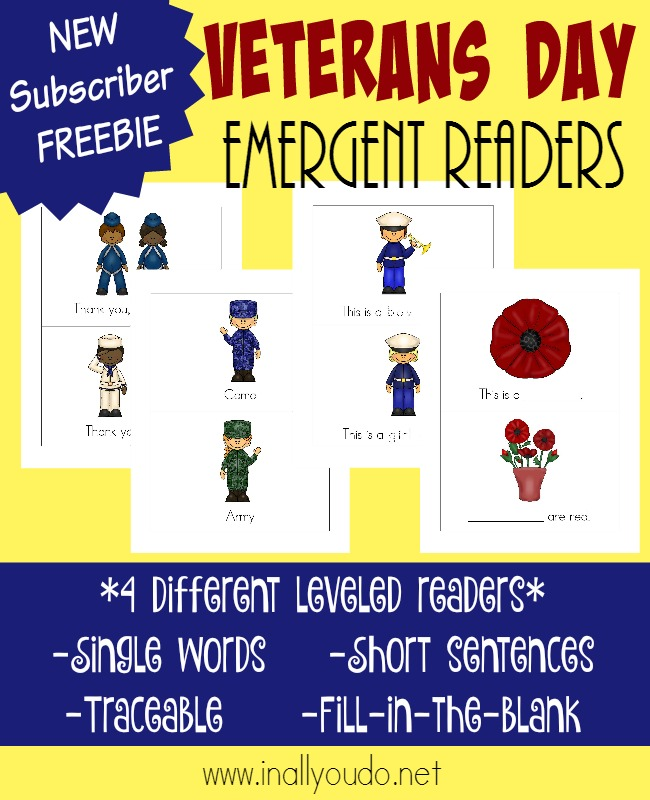 Teach young readers about those who have served our country this Veterans Day, with these new Emergent Readers. Available in 4 different levels! :: www.inallyoudo.net