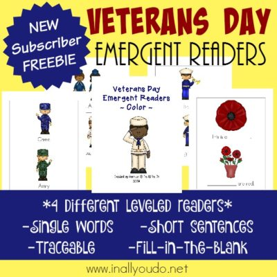 Veterans Day Emergent Readers