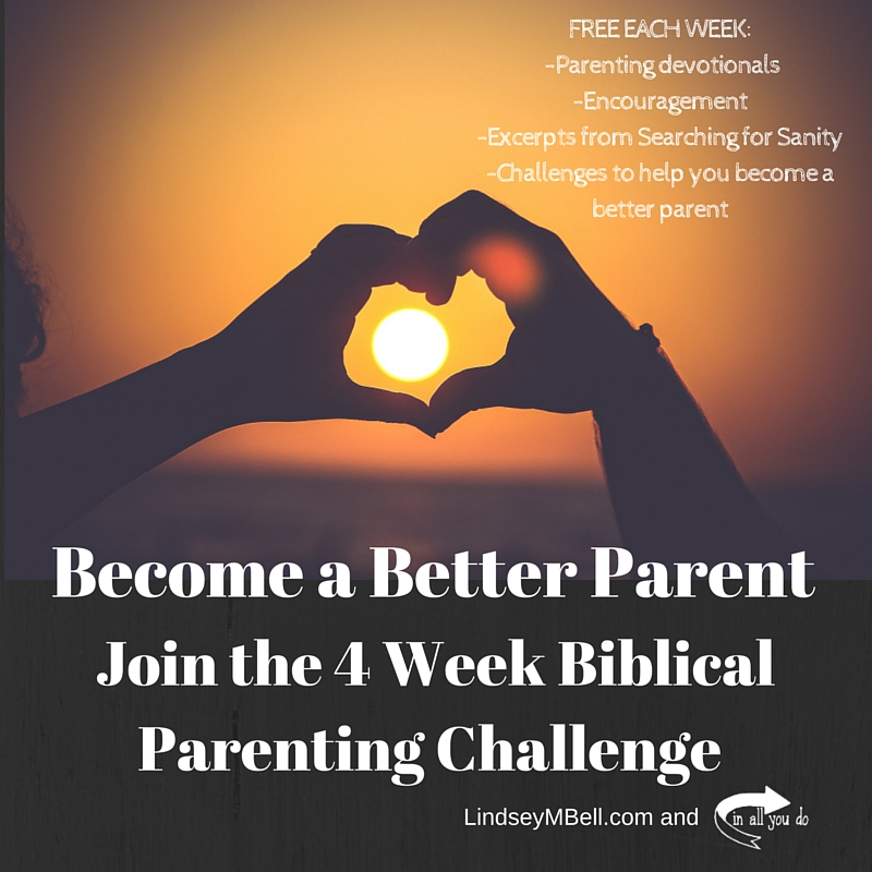 Join this 4 week challenge to get free devotionals from Searching for Sanity, weekly encouragement, and challenges to help YOU become a better parent. :: www.inallyoudo.net