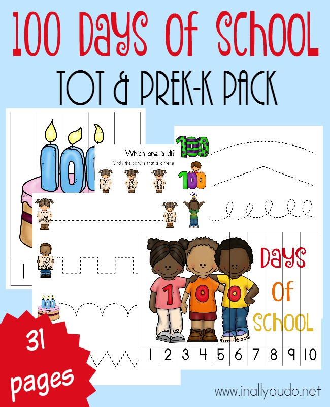 Little ones will enjoy celebrating their 100th Day of School with this FUN Tot & PreK-K Pack full activities, prewriting, puzzles & more! :: www.inallyoudo.net