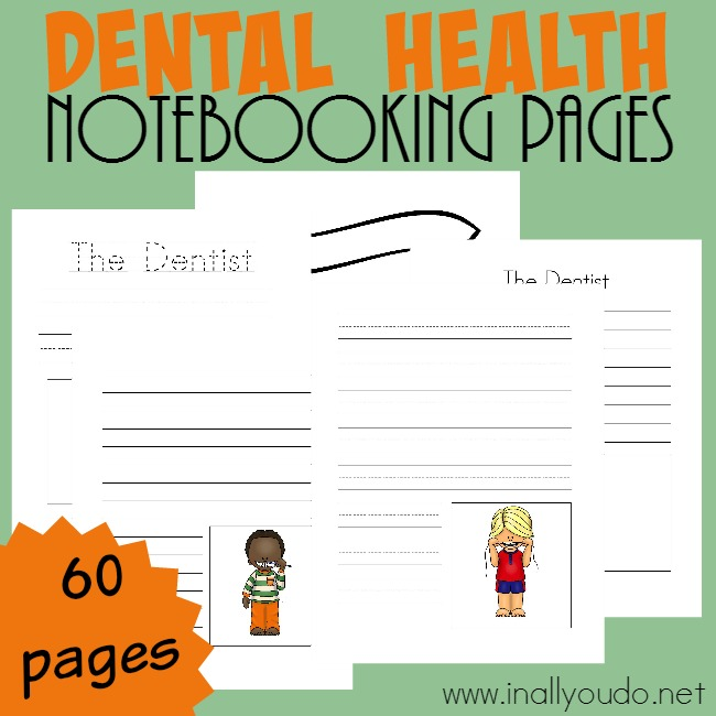 February is Children's Dental Health Month. Use these Notebooking pages to let kids record about their dental visit, how to keep their teeth and mouths healthy and more! Includes 60 pages of templates. :: www.inallyoudo.net