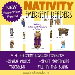Use these ADORABLE Nativity Emergent Readers to help little ones work on their reading skills. Perfect for this time of year! {4 levels} :: www.inallyoudo.net