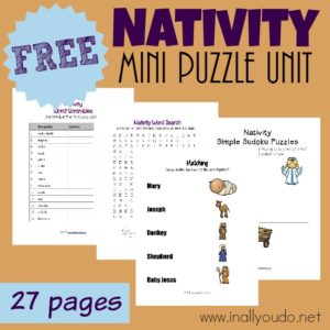 This fun Nativity Puzzle & Activity Unit is a great way to prepare little hearts for the Christmas season. {27 total pages} :: www.inallyoudo.net