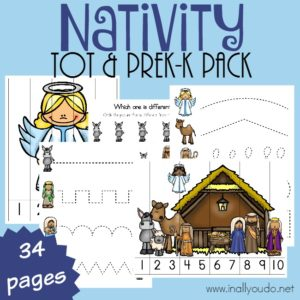 Use this fun Nativity Tot & PreK-K pack with your Littles as the Christmas season approaches. Full of prewriting, puzzles, dot sticker pages and MORE! :: www.inallyoudo.net