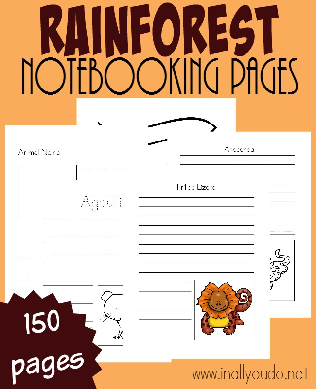 There is so much to learn about the Rainforest and these Notebooking pages are PERFECT to record it all down. Includes over 150 pages of templates. :: www.inallyoudo.net