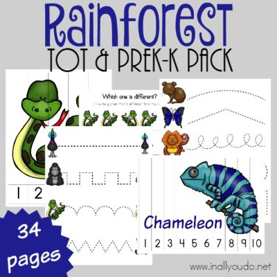 Rainforest Tot & PreK-K Pack {34 total pages}