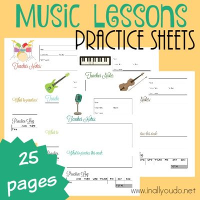 Music Lesson Practice Sheets {NEW Subscriber Freebie}