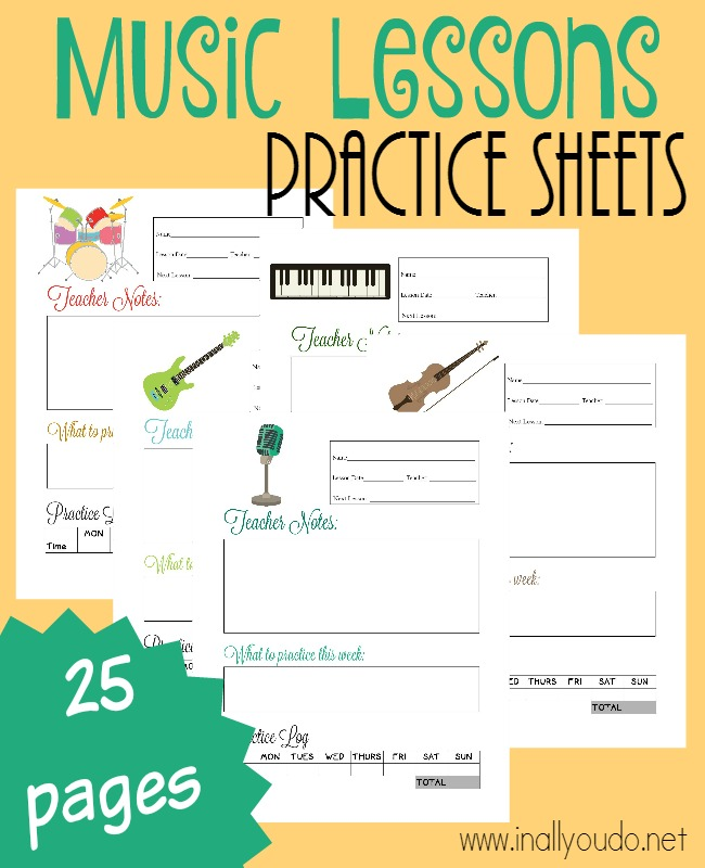 Keep track of music lesson practice times throughout the week with these fun practice sheets. Includes 25 pages with various instruments, colors and MORE! :: www.inallyoudo.net