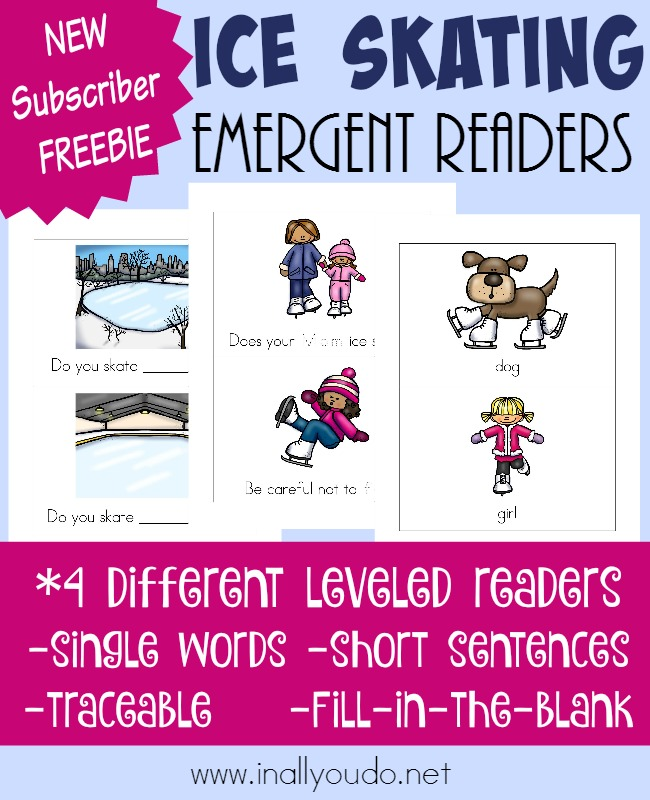 Winter is here and that means Ice Skating season is upon us! Grab these SUPER CUTE Ice Skating Emergent Readers for your little ones! Available in 4 different levels! :: www.inallyoudo.net