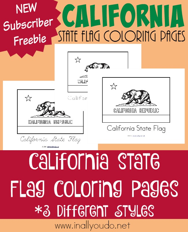 The last day of our Across the USA series comes to a close with the 31st state, California, flag coloring pages. Grab your FREEBIE now! :: www.inallyoudo.net