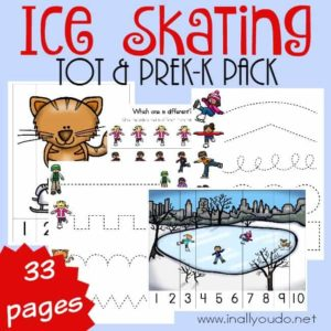 Now your little ones can get excited about Ice Skating with this SUPER FUN Tot & PreK-K Pack!! Over 30 pages of puzzles, prewriting, beginning sounds and MORE! :: www.inallyoudo.net