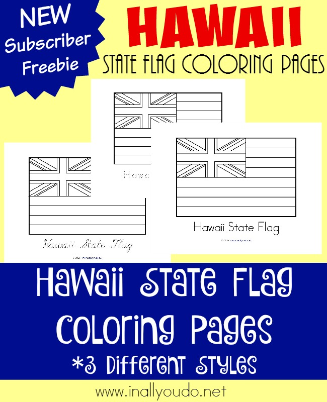 Learn about the 50th state in our Union, Hawaii. Read about the history of their flag as you color these FREE printable pages! {3 styles} :: www.inallyoudo.net