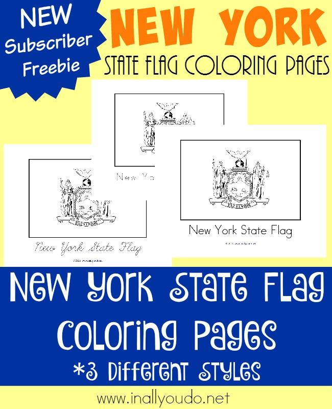 New York is a beautiful state both in its countryside and in the city. Today you can learn more about this states unique and very symbolic flag with these FREE coloring pages. :: www.inallyoudo.net