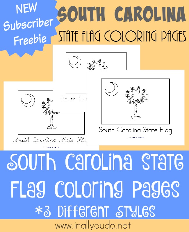 Take a trip to the beach in South Carolina and learn all about their state flag in today's post! {free coloring pages} :: www.inallyoudo.net