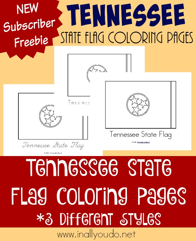 Going back to the Midwest today, we visit Tennessee and learn about its rich history and all about its unique state flag! {free coloring pages} :: www.inallyoudo.net