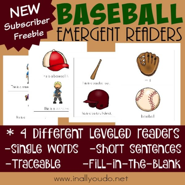 Spring Training for Baseball is almost here! Help your little ones get ready with these FUN Baseball themed Emergent Readers!! {4 levels} :: www.inallyoudo.net