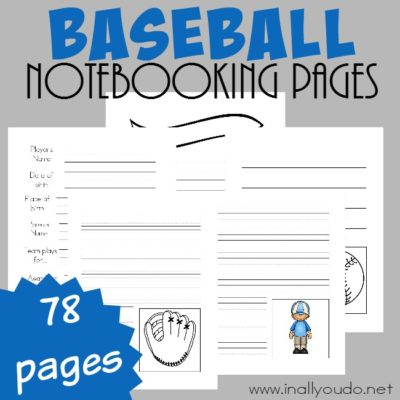 Baseball Notebooking Pages