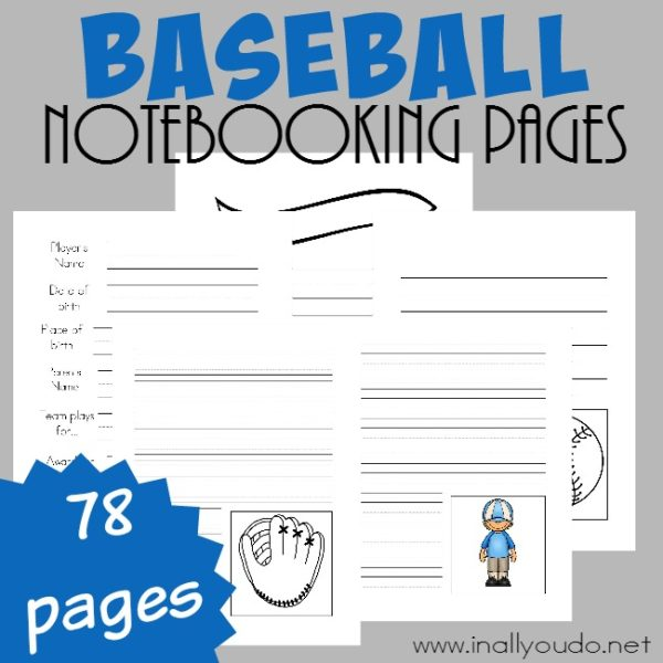 These Baseball themed Notebooking Pages are a great way to record information your little baseball fan knows and/or learns through research! {78 pages} :: www.inallyoudo.net