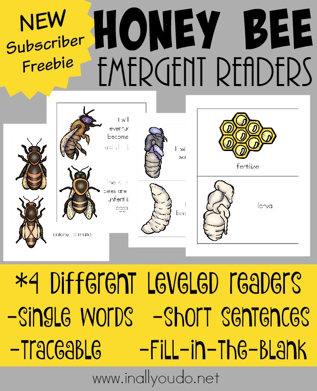 Learn more about Honey Bees while practicing your reading skills with these SUPER FUN Emergent Readers! 4 different levels to choose from for all ages! :: www.inallyoudo.net