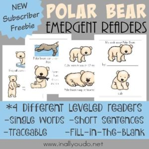 Little ones will have fun learning more about the life of a polar bear with these Emergent Readers. {4 levels} :: www.inallyoudo.net