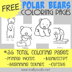 These Polar Bear coloring pages are SUPER CUTE and perfect for any Arctic Animals unit or just for some added fun in your school day. {36 pages} :: www.inallyoudo.net
