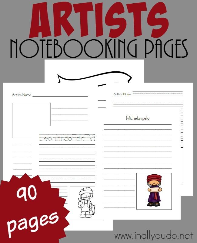 These Artists Notebooking Pages are perfect for studying not only famous artists from our past, but new and upcoming artists as well! Filled with 90 templates to choose from! :: www.inallyoudo.net