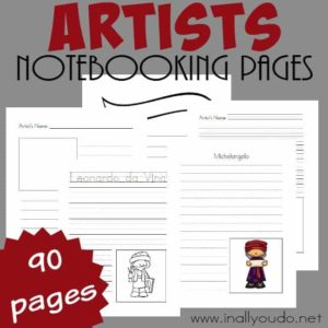 Artists Notebooking Pages