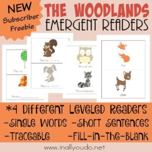 Little ones will love the adorable creatures in these Woodlands Emergent Readers, as they practice sight words and sentences! {4 levels} :: www.inallyoudo.net