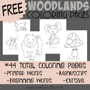 Introduce the animals of the woodlands and forests with these SUPER CUTE coloring pages! {44 total pages} :: www.inallyoudo.net