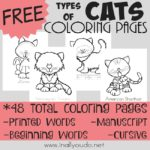 Types of Cats Coloring Pages {FREE}