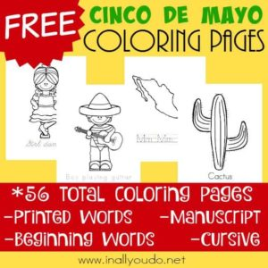 These fun Cinco de Mayo coloring pages are a great way to introduce kids to the holiday! Includes 56 pages with 4 handwriting styles! :: www.inallyoudo.net