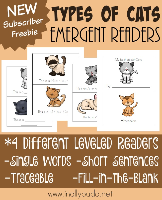 Little ones will have fun learning about 12 different types of cats with these FUN Emergent Readers! Available in Black & White or Color!! :: www.inallyoudo.net